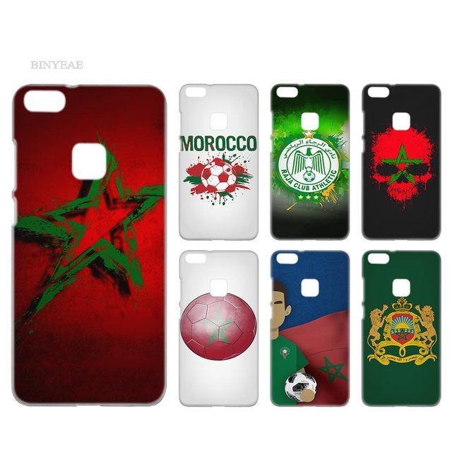 BINYEAE Morocco Bóng Đá Bóng Đá Trong Suốt Trường Hợp Bìa Cứng Nhựa cho Huawei P8 P9 P10 P20 Lite Cộng Với Pro Lite 2017