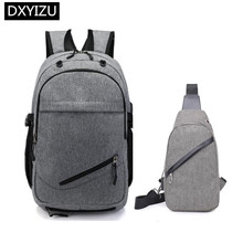 купить DINGXINYIZU Boys school backpack waterproof travel backpack men usb charge chest bag pack student boy back bag for laptop 15.6 по цене 1781.23 рублей