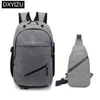 DINGXINYIZU Boys school backpack waterproof travel backpack men usb charge chest bag pack student boy back bag for laptop 15.6