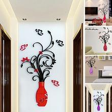 28cm x 60cm Home Room TV Decor Wall Background StickersVase Plum Flower Tree Crystal Acrylic 3D Wall Sticker