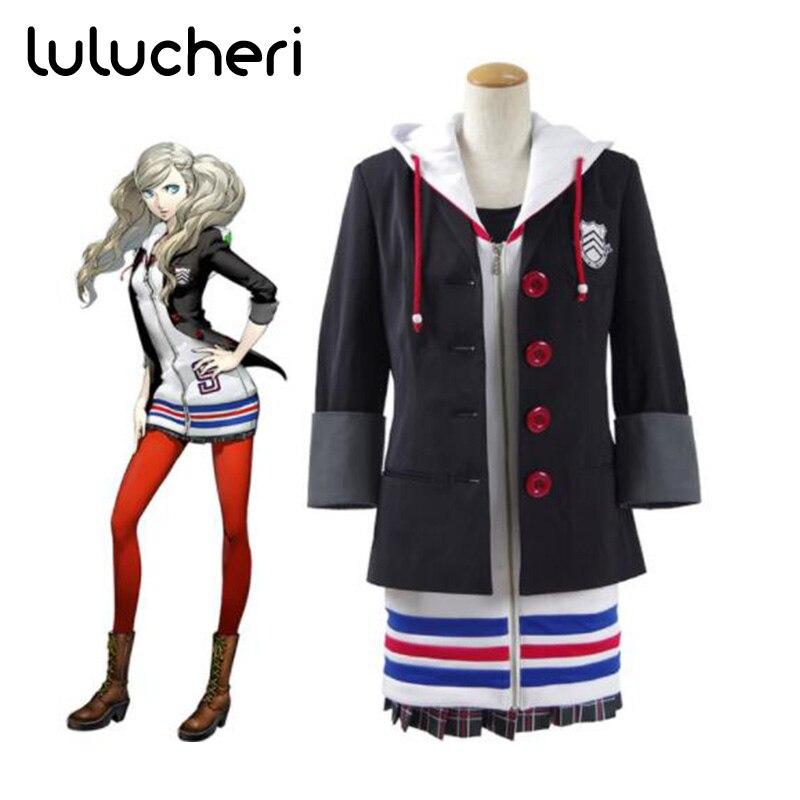 Persona 5 Anne Takamaki Cosplay Costumes New School Uniform Halloween Costumes Women Coat Dress Full Set for Girls