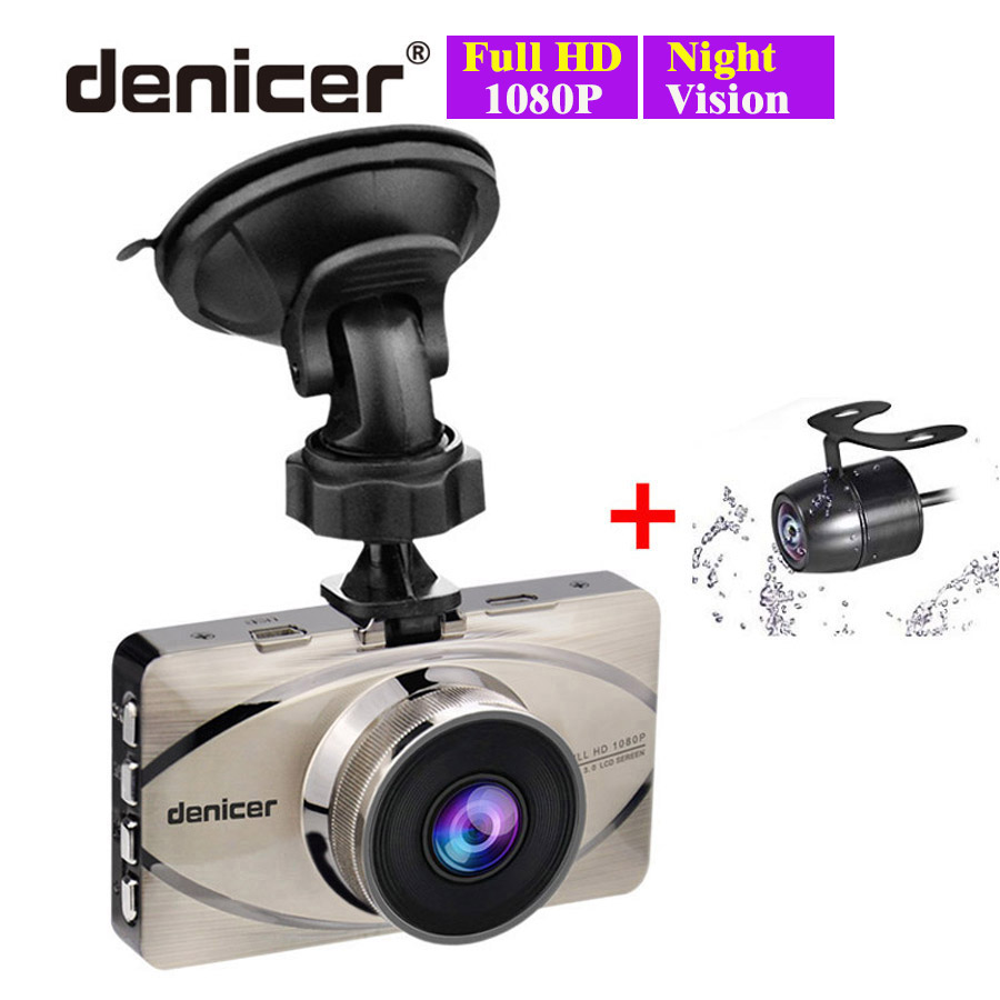 Grabadora de coche superior Autoregistrar de Metal Cámara Full HD 1080 P de registrador de la visión nocturna IMX323 DVR 170 registrador + parte trasera 2 cámaras