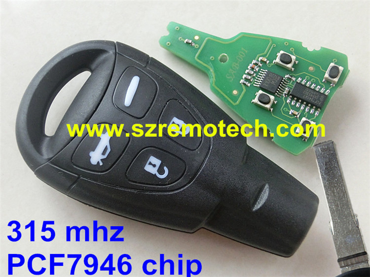 1Pcs Free Shipping New Key Fob Keyless 315mhz PCF7946AT chip Entry Car Remote Control Replacement Fit For Saab(FCC:LTQSAAM433T)X 26939 feron