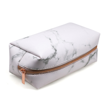 Women Makeup Bag PU Leather Marbling Brush Organizer Zipper Toiletry Case Cosmetic Bags -OPK