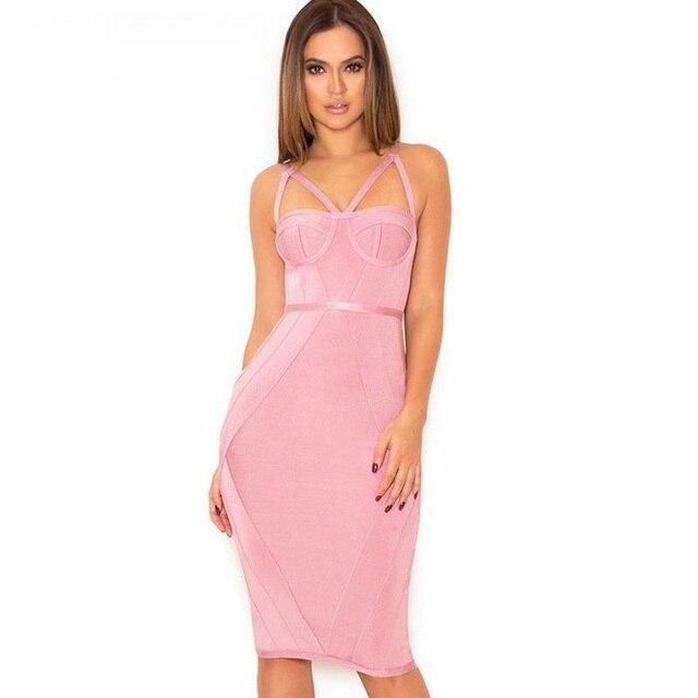 pink dress women bodycon summer dress 2017 bandage dress bodycon ...