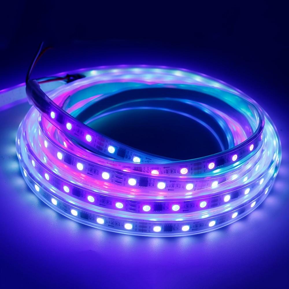 Striscia principale DC12V WS2811 SMD5050 RGB Flessibile Digitali indirizzabili 60 leds/m led pixel luci di striscia del nastro esterno ic 5 m/roll W/B