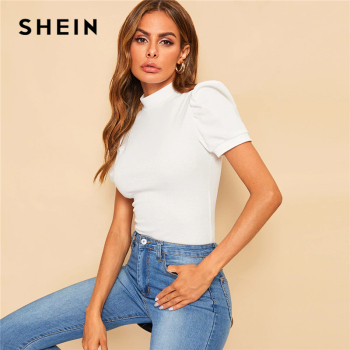 SHEIN Office Lady White Mock-neck Puff Sleeve Solid Top T Shirt Summer Solid Basic Short Puff Sleeve Elegant Tshirt Ladies Tops