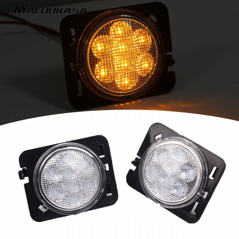 MALUOKASA 2PCS Auto Front Fender Flare Lamp Side Marker SUV Turn Signal LED Light for Jeep Wrangler JK 2/4door 07-17 Automobiles for jeep jk accessories front fender smoked led turn signal side marker parking light for jeep wrangler led side marker lamp