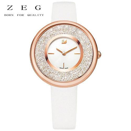 цена на ZEG High Quality 2018 Latest SWARO Original 1:1 Lovely Crystals Mini Watch Leather Strap White Has Logo Women Jewelry Free Mail
