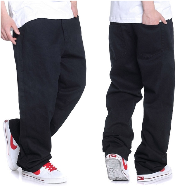 2018 New Men's jeans Men's Skateboard pants Fashion waist Casual pants Loose Straight Black jeans Size 30-38 40 42 44 46
