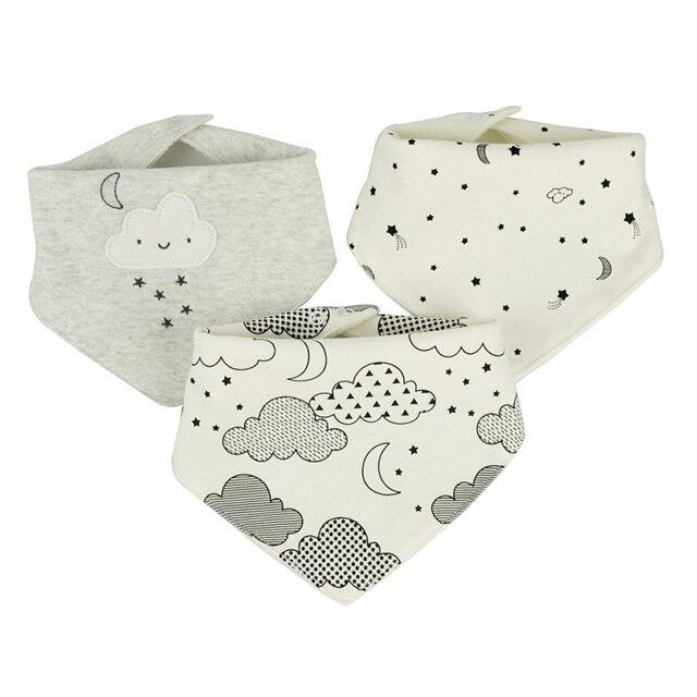 Baberos de bebé impermeables para 0-2 años de edad 3 unids/set, accesorios bandana de algodón 3 capas
