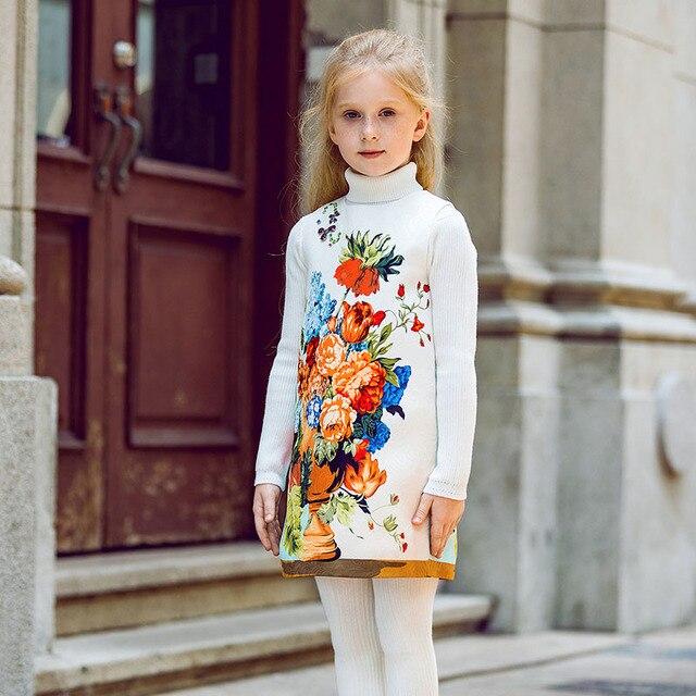 Kidsalon Flower Girl Dresses Printed Princess Dress Girls Autumn Dress with  Beads Roupas Infantis Menina Girls Autumn Clothing 0b4198117981