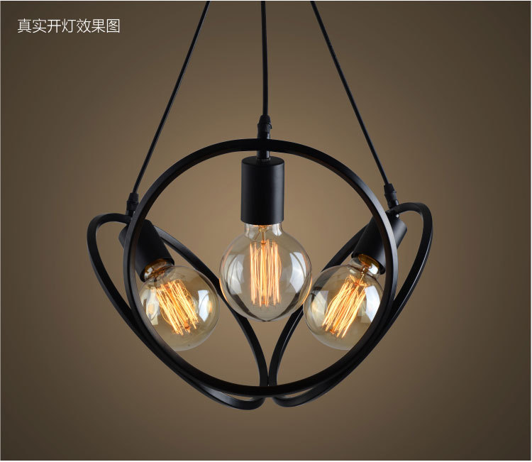 American Country Industrial Vintage Loft Style Wrought Iron 3 Head Pendant Light Restaurant Coffee Shop Retro Lamp Free Shipping free shipping american style living room vintage crystal lamp personalized black wrought iron pendant lamp dia 74 h53cm