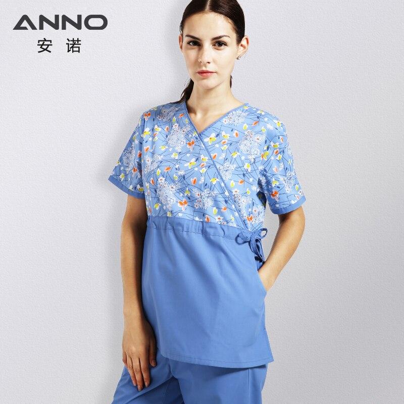 ANNO cintura ajustable uniformes médicos de las mujeres del verano ropa uniforme de enfermera clínica Dental Hospital Camisas Pantalones slim fit