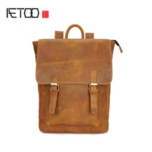 AETOO New men's shoulder bag crazy horse skin men's bag fashion section large-capacity leisure travel bag leather backpack