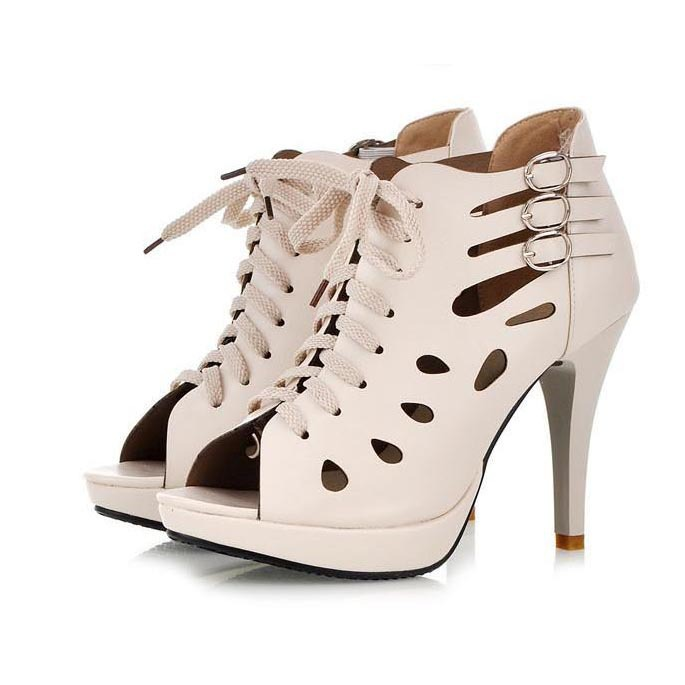 ФОТО Sexy Open Toe Platform High heels Women Sandals Fashion Cut-outs Lace Up Gladiator Sandals Women Ladies High Heels Summer Shoes