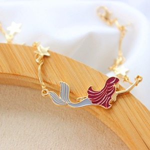 Taoup Gold Star Little Mermaid Birthday Bracelet Party Decors for Girls Babyshower Mermaid Party Teenage Gifts Shell Pendants