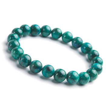 Genuine Natural Green Malachite Round Beads Chrysocolla Bracelet 10mm Women Lady Stretch Reiki Crystal Bracelet AAAAA