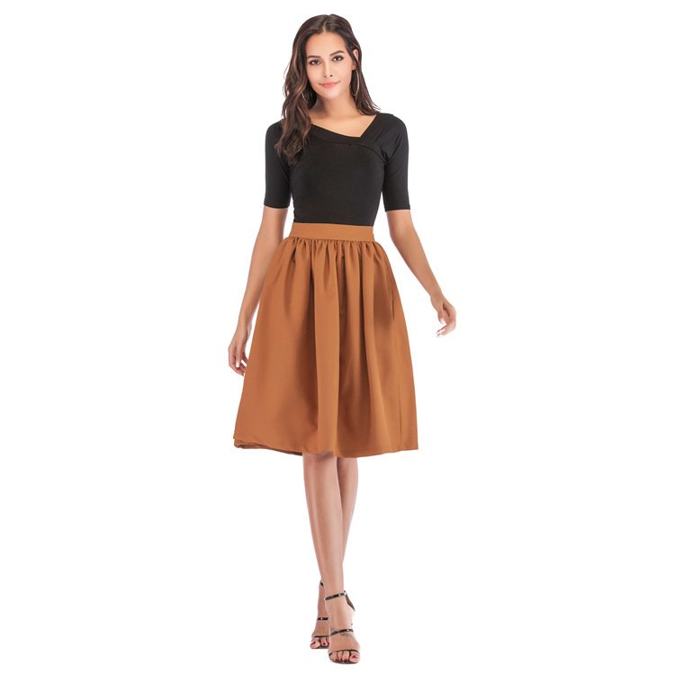 Bachash 19 New Skirt Pockets Fashion Spring Autumn Ball Gown Skirt High Waist Female Casual Solid Loose Knee-Length Skirts 9