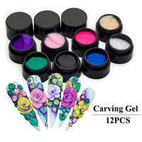 12 Colour Nail Art Glue 3D Sculpture Carved Glitter Painting UV Gel Acrylic Modelling Manicure Decor