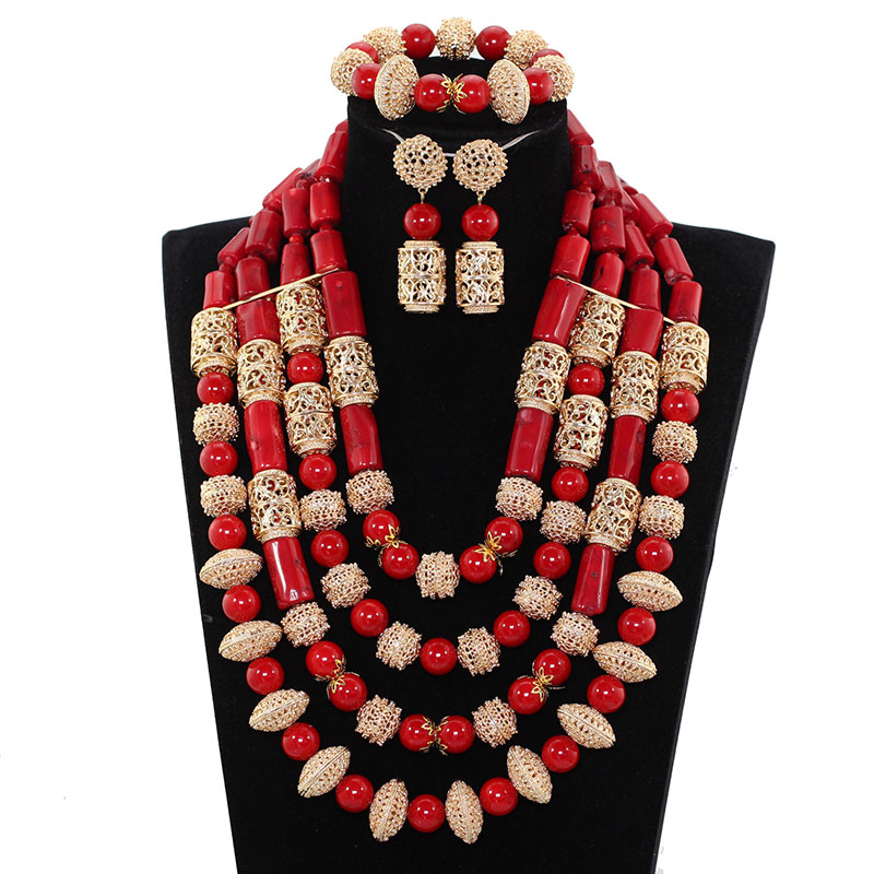 Traditional Wedding Beads Jewelry Sets Wine Red Coral Beaded Bridal Jewelry Sets Gold Nigerian Jewelry Free Shipping PJW131