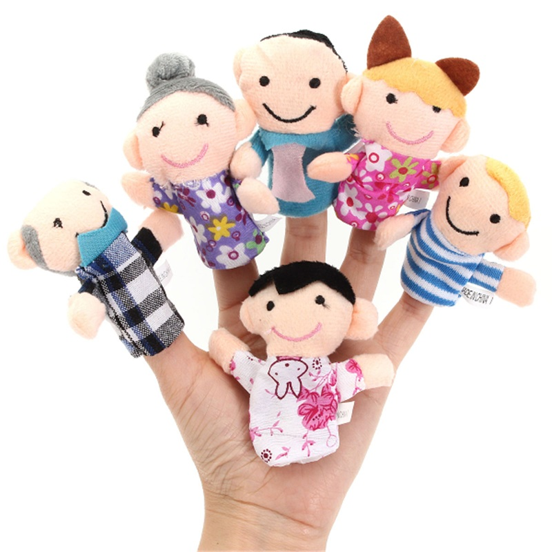6 Pcs Finger Puppets Plush Cloth Toy Baby Bed Stories Helper Doll Funny For Children Kids
