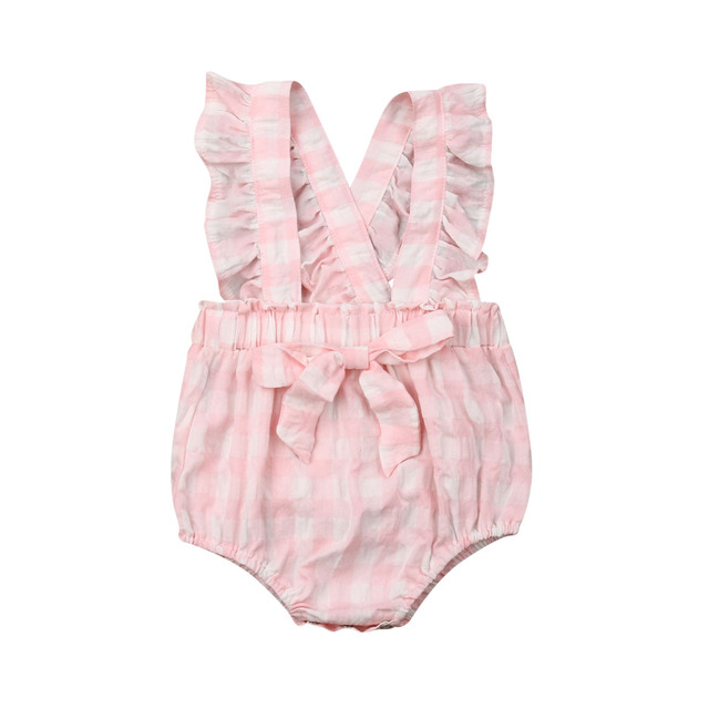 ecfcc1411 Emmababy 2019 Toddler Newborn Infant Baby Girl Clothes Romper Plaid  Sleeveless Cute Pink Jumpsuit Outfit Summer 0-18M