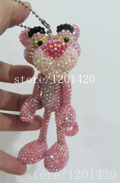 Шику милый пантера брелки розовый горный хрусталь женской сумочке очарование каваи девушки сумка шарм блестящие блестящий