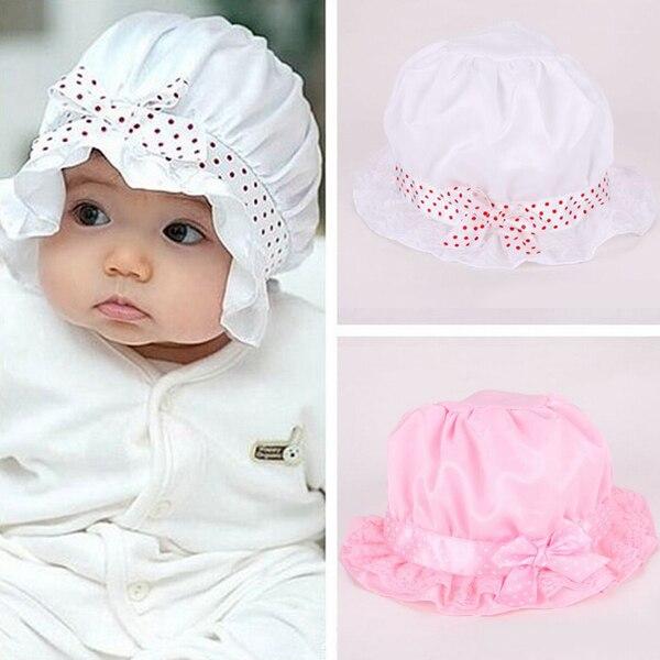 0a9933e67c2 New Cute Kid Toddler Baby Girl Boy Knot Whit Pink Hat Dot Summer Bucket Sun  Cap