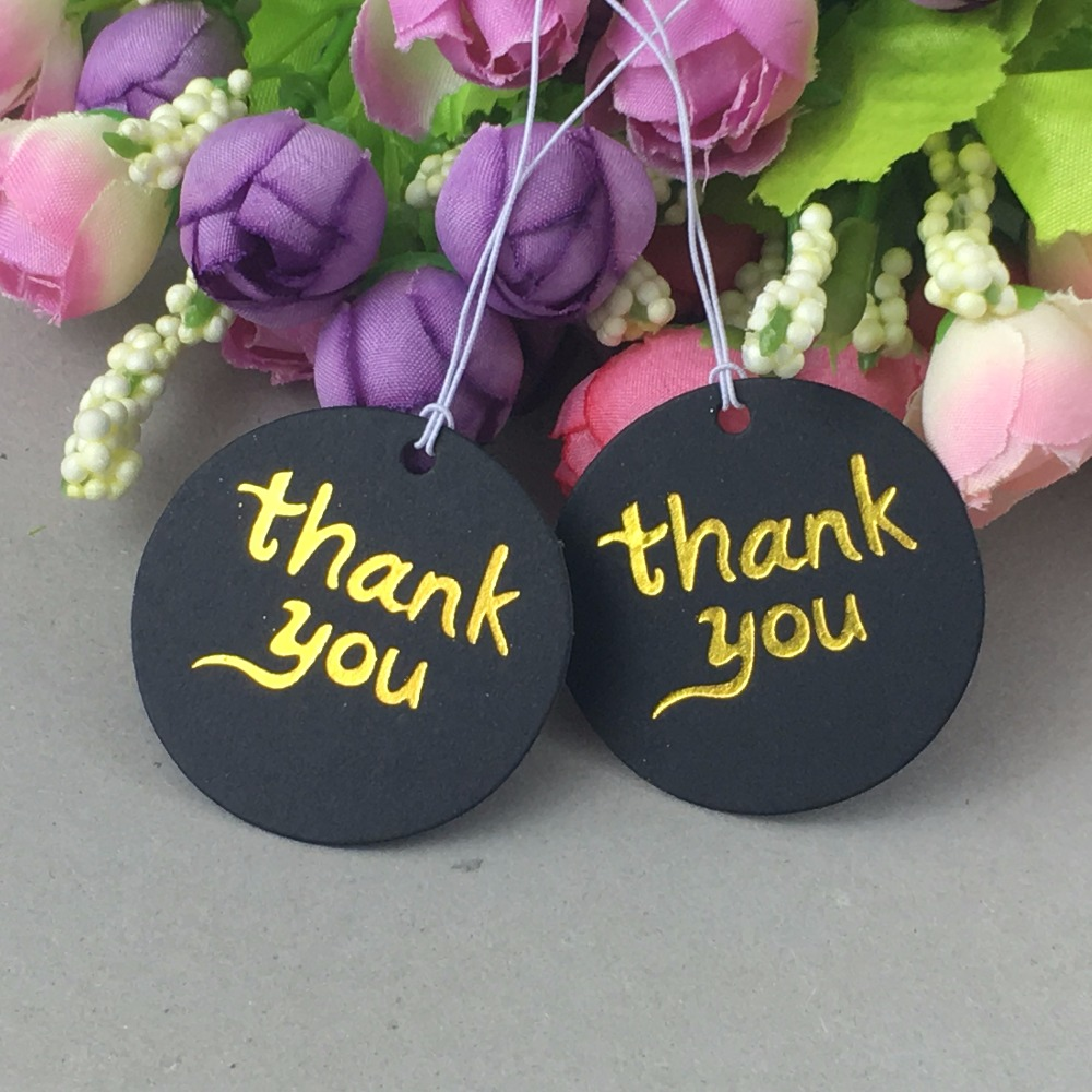 New Arrival 200pcs Black Cardboard Gift /Price Tags Thermoprinting Gold Thank You Tags+200pcs Strings Handmade Luggage Labels