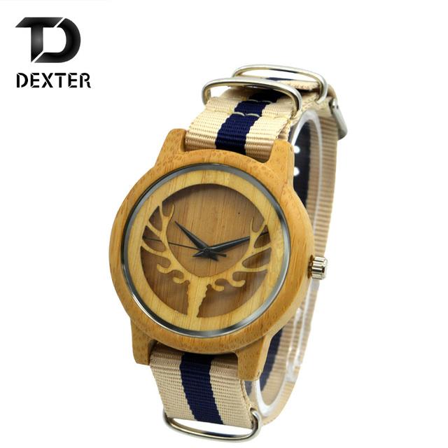 Marca de Moda de lujo de Los Hombres De Bambú De Madera Relojes de los hombres de nylon Correa de Cuarzo Ocasional Masculino delgado natual creativo Amante Reloj Montre Homme
