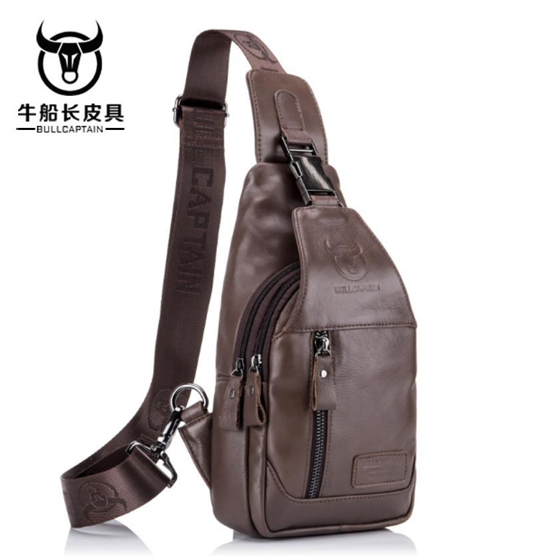 BULLCAPTAIN Fashion messenger bag Genuine Leather Crossbody Bags men casual Small Brand Designer Male Shoulder Bag brown цены