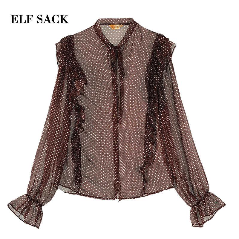 Женские винтажные блузки в горошек ELF SACK, пурпупные шифоновые дамские блузки-рубашки с кружевной отделкой и завязкой, женская верхняя одежда с оборками для лета, 2019