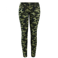 Russia Women Army Military Active Style Green Camo Skinny Jeans Brave Tough Girl Tomboy Camouflage Cropped