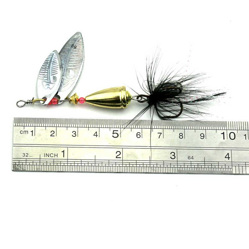 YeMuLang 1 шт. Спиннер приманка металлическая рыболовная Lure7.8cm 11 г форель для ловли карпа, сома искусственная с пером крючок жесткие приманки для рыбалки