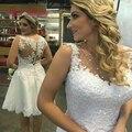 2017 Corto Vestidos de Novia Sin Mangas A-line Sobre La Rodilla Organza con Apliques y Perlas Mujeres Vestidos de Novia robe de mariee