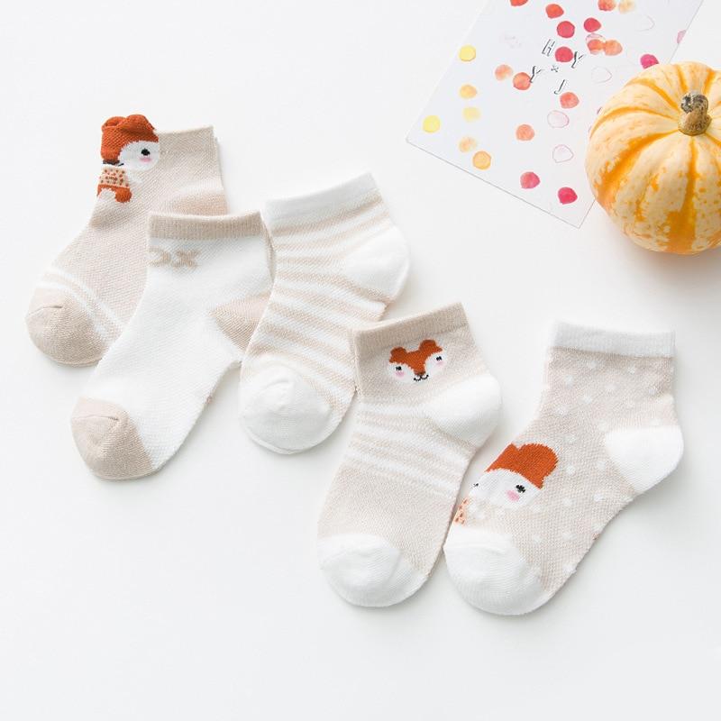 5 Pair/lot Summer Children Mesh Socks For Kids Boys Girls Toddler Baby Cute Cartoon Fox Bear Rabbit Animal Socks For 1-8Years