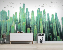 Купить с кэшбэком Beibehang Custom photo wallpaper Nordic Hand Painted Cactus Tropical Plant TV Background Wall Painting papier peint 3d wallpaper