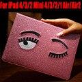 Smart Case For iPad mini 4/3/2/1 For IPad Air/Air2 Fashion Blink EYE Glitter PU Leather Cover for iPad 4/3/2 IM422
