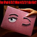 Smart case para ipad mini 4/3/2/1 para ipad air/air2 moda blink glitter pu cubierta de cuero para ipad 4/3/2 im422