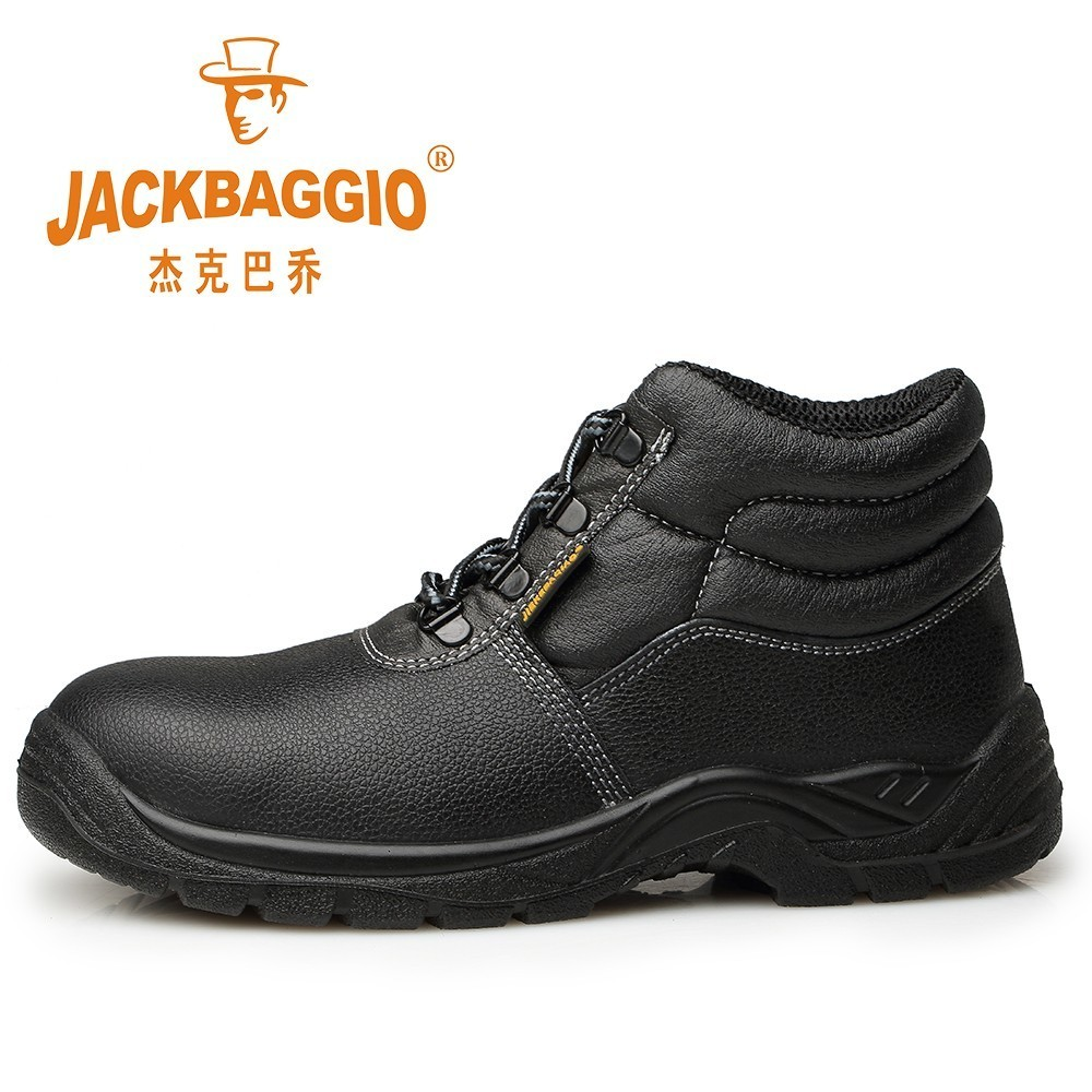 Winter New Warm Black Safety Shoes, Non-slip Anti-puncture Men's Work Shoes, Leather European Standard Steel Head Snow Boots. цены онлайн