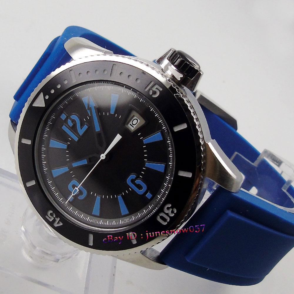 лучшая цена BLIGER 43mm black sterial dial blue marks luminous ceramic bezel rubber strap MIYOTA Automatic men's watch