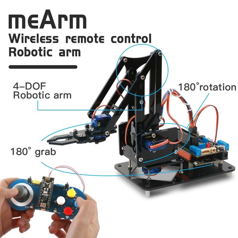 Набор для самостоятельной сборки Keywish с роботизированным рычагом для Arduino R3, акриловый, с высокой твердостью, Поддержка программирования ца...