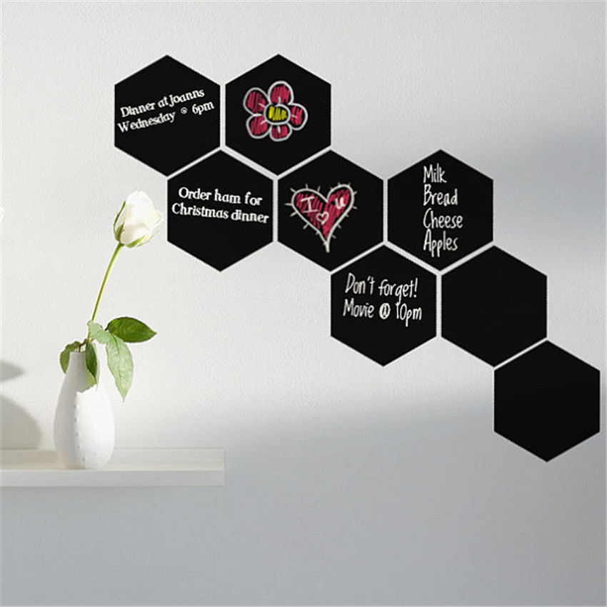 2 pcs hexagon pattern blackboard vinyl wall sticker chalkboard decal office home decoration wall stickers for kids room 2320cm in wall stickers from home