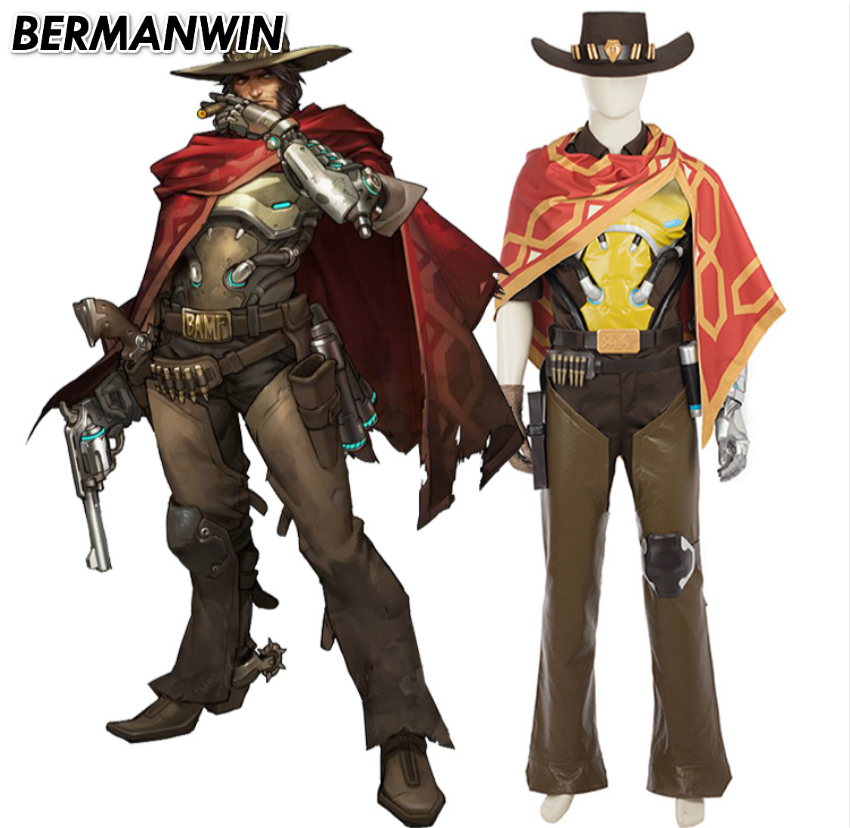 BERMANWIN High Quality Popular game OW Jesse McCree costume Halloween costume for adults soldier 76 Jesse McCree Cosplay Costume