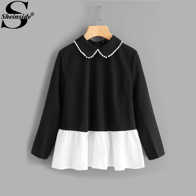 Sheinside Pearl Beading Collar Keyhole Back Contrast Hem Blouse 2017 Patchwork Peter Pan Collar Ruffle Long Sleeve Cute Blouse