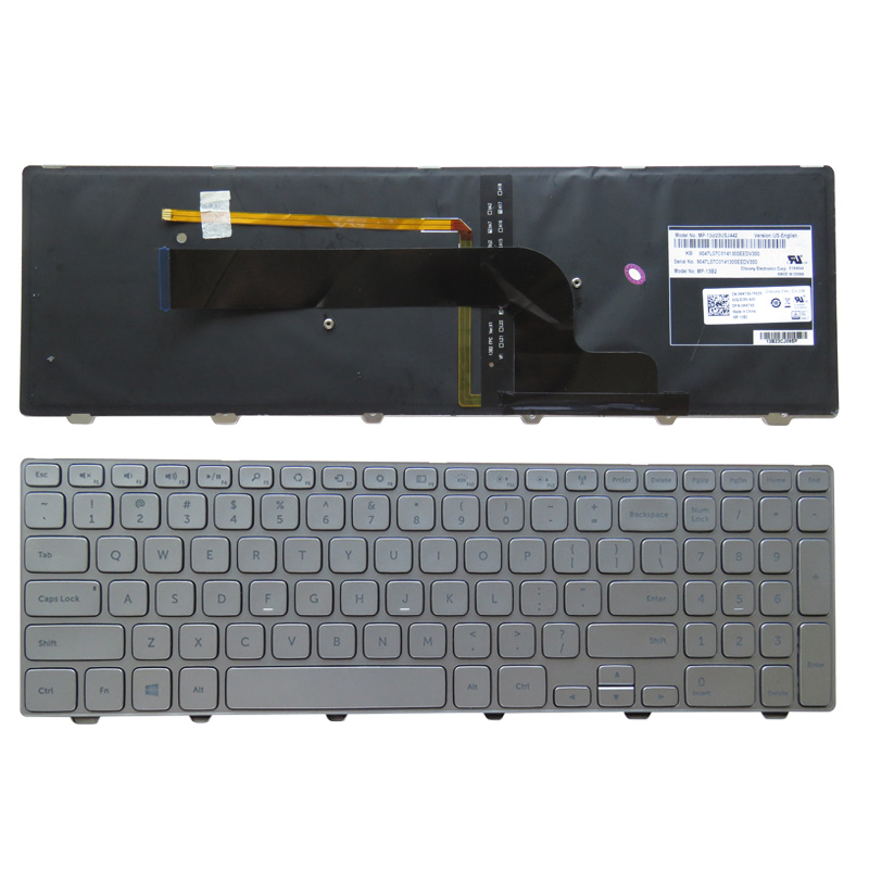 New US Keyboard English for Dell Inspiron 15 7537 7000 laptop Keyboard 15-7000 Series 7537 Keyboard Backlit with SILVER FRAME us black new english replace laptop keyboard for dell latitude z600