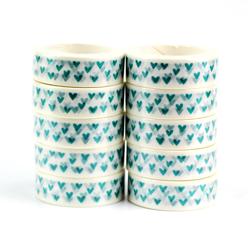 10pcs/lot Cute Mint Blue Hearts Washi Tapes Paper DIY Decor Scrapbooking Planner Adhesive Masking Tapes Kawaii Stationery