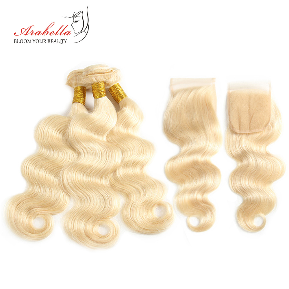 Brazilian Body Wave 613 Bundles With Lace Closure Arabella Hair 100 Human Hair Extension Remy Hair