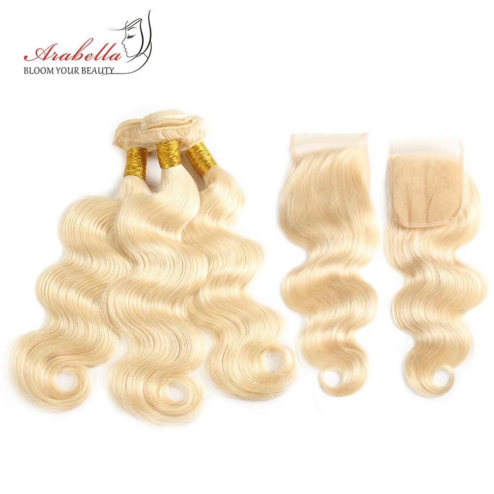 Cheveux Arabella brésilien vague de corps 613 paquets avec fermeture à lacet 100% Extension de cheveux humains Remy cheveux blonds paquets avec fermeture